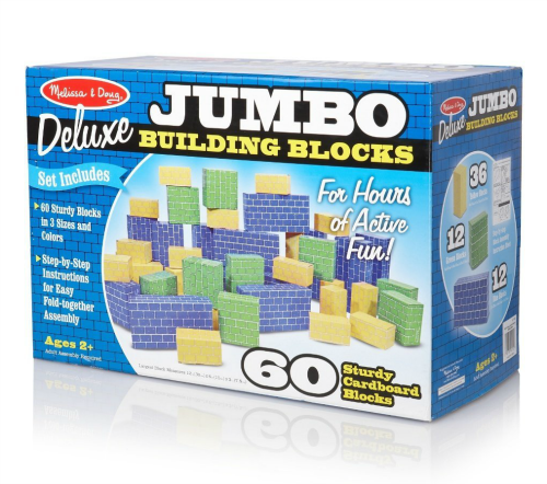 Melissa & Doug Deluxe Jumbo Building Blocks 60 Cardboard Blocks