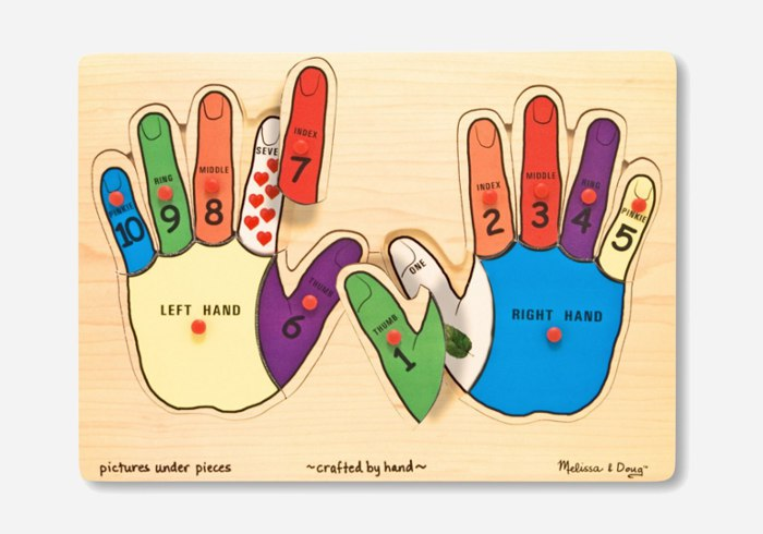 Wooden puzzles for kids - Melissa & Doug Counting Hands Peg Puzzle