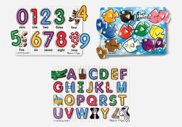 Wooden puzzles for kids - Melissa & Doug Deluxe Classic Peg Puzzle Bundle