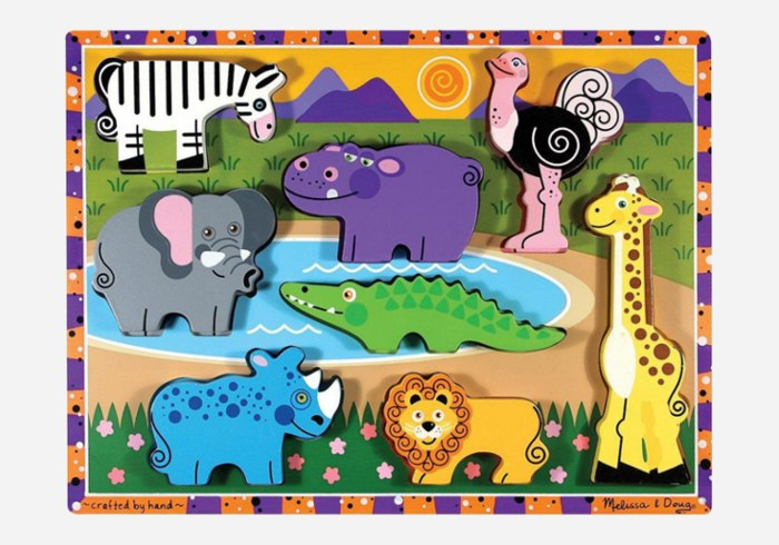 Wooden puzzles for kids - Melissa & Doug Deluxe Wooden Safari Chunky Puzzle
