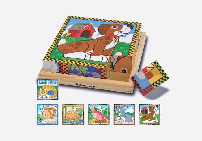 Wooden puzzles for kids - Melissa & Doug Pets Cube Puzzle