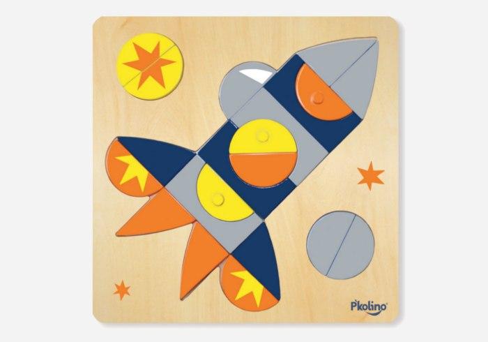 Wooden puzzles for kids - P'kolino Multi-Solution Shape Puzzle FP