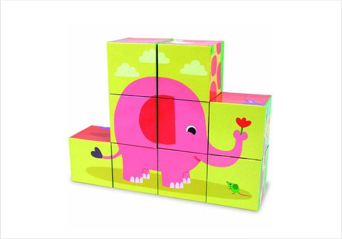 Cardboard blocks for toddlers and preschoolers - Vilac nine cardboard animal blocks