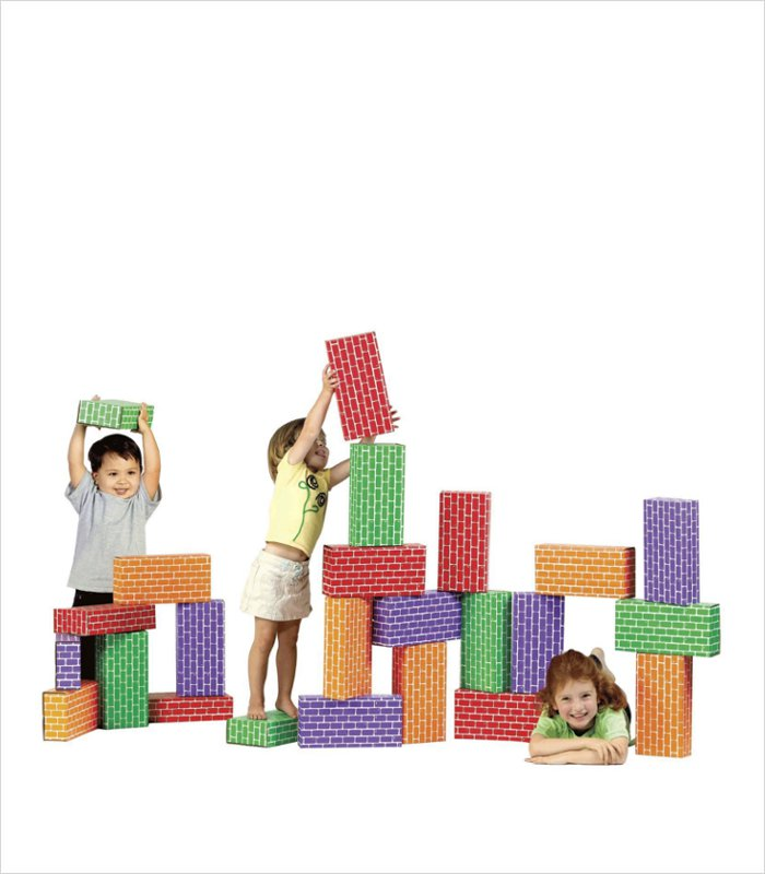 Melissa /& Doug 24 Basic Cardboard Set Brick Blocks Toy New