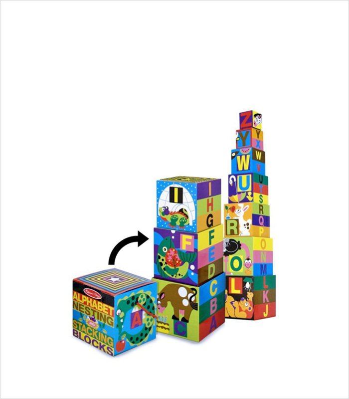 Cardboard building blocks for the little people - Melissa and Doug alphabet stacking and matching blocks