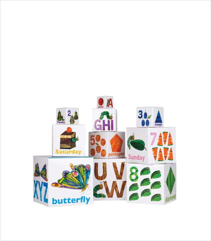 Cardboard building blocks for toddlers - The Very Hungry Catepillar
