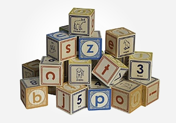 Wooden alphabet bricks by Uncle Goose