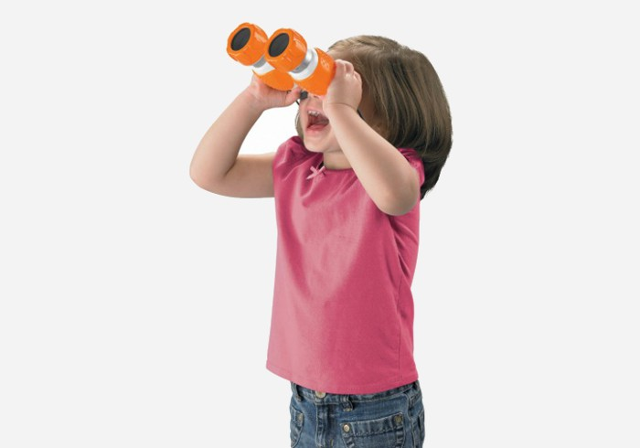 Girl holding fisher price kids tough binoculars