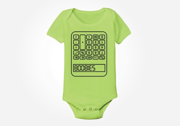 Calculator boobies funny nerdy baby onesies you just know there