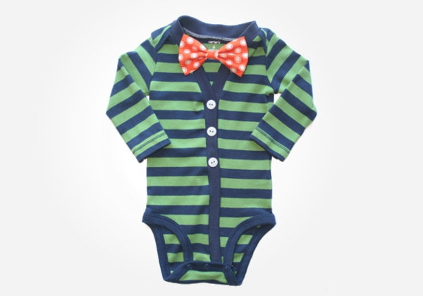 Nerdy baby onesies - This little onesie has all the makings of the perfect nerdy outfit for baby including stripes and a big bowtie