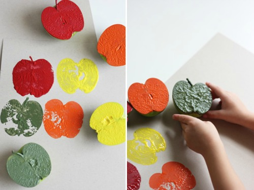 fall craft projects for kids - apple stamping