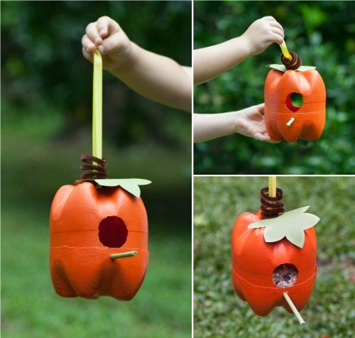fall craft projects for kids - pumpkin bird feeder