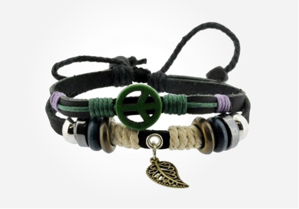 Peace sign leaf zen bracelet - cool #gift idea for a preteen boy