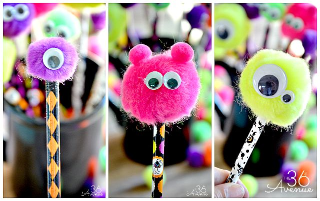These These googly-eyed monster pencil toppers make fun Halloween crafts for kids