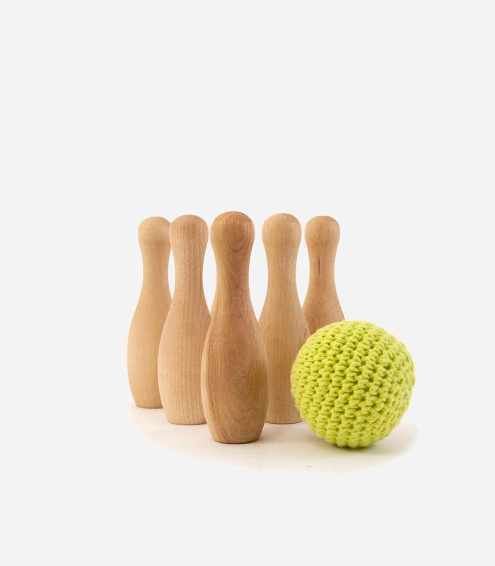 Bowling game - eco friendly hand made wooden toy for kids | Featured on KidsLoveThisStuff.com