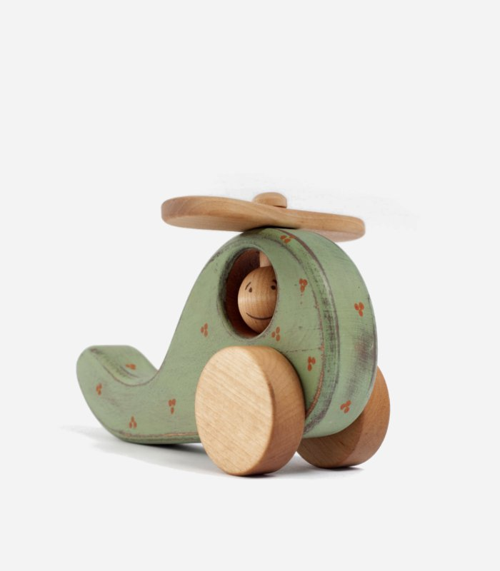 Mint green helicopter - eco-friendly handmade wooden #toy for kids | KidsLoveThisStuff.com