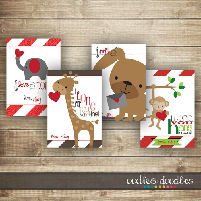 6 Jazzy Printables that Make Cool Valentines Cards for Kids – Animal Valentine Cards