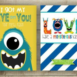 Printable Valentines cards for kids - monster-FP