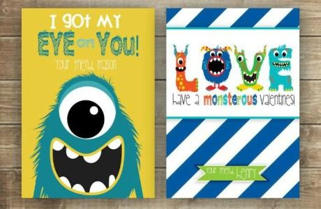 Printable Valentines cards for kids - monster-FP