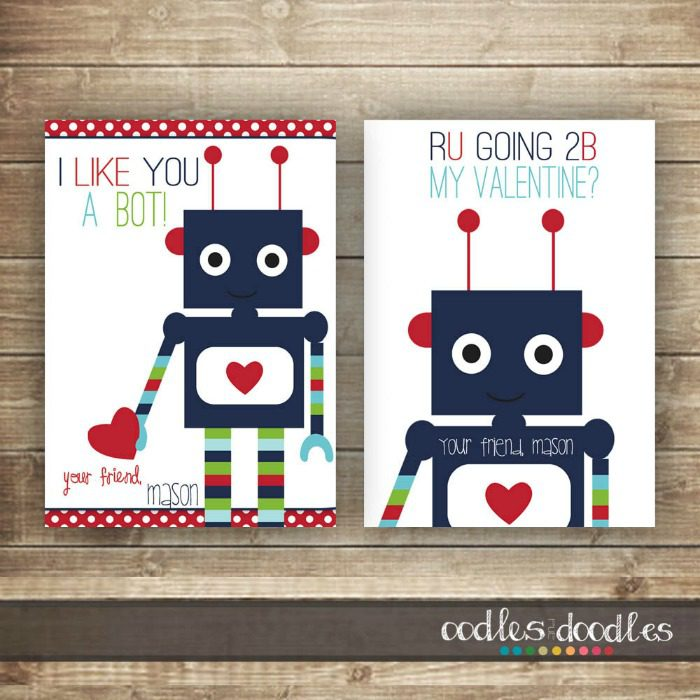 6 jazzy printables that make the coolest Valentine's cards for kids. Click through to see the other designs.