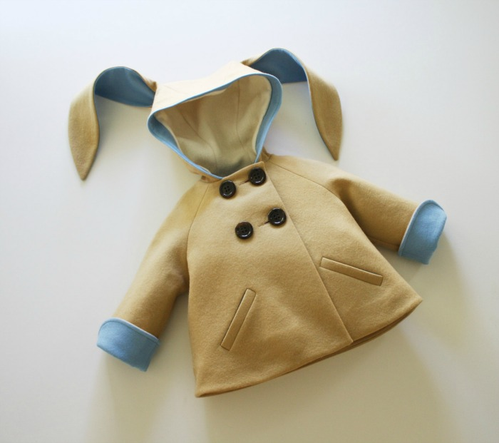 This would make a darling spring coat for a bunny loving toddler or preschooler.