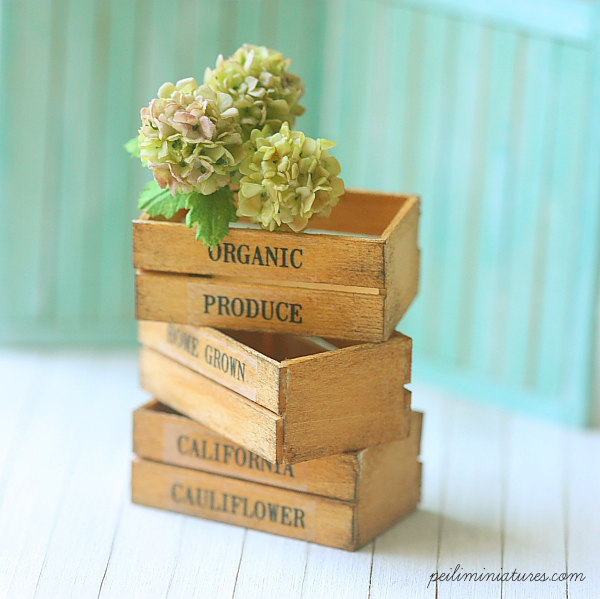 Beautiful miniature dollhouse accessories with a shabby chic twist