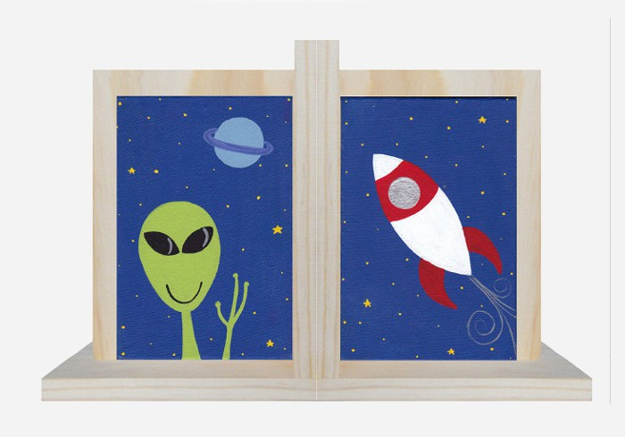Hand painted canvas bookend - great for the kids room or nursery | kidslovethisstuff.com