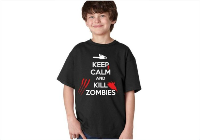 Geek chic gift for an 11 year old boy - Keep calm and kill zombies t-shirt junior