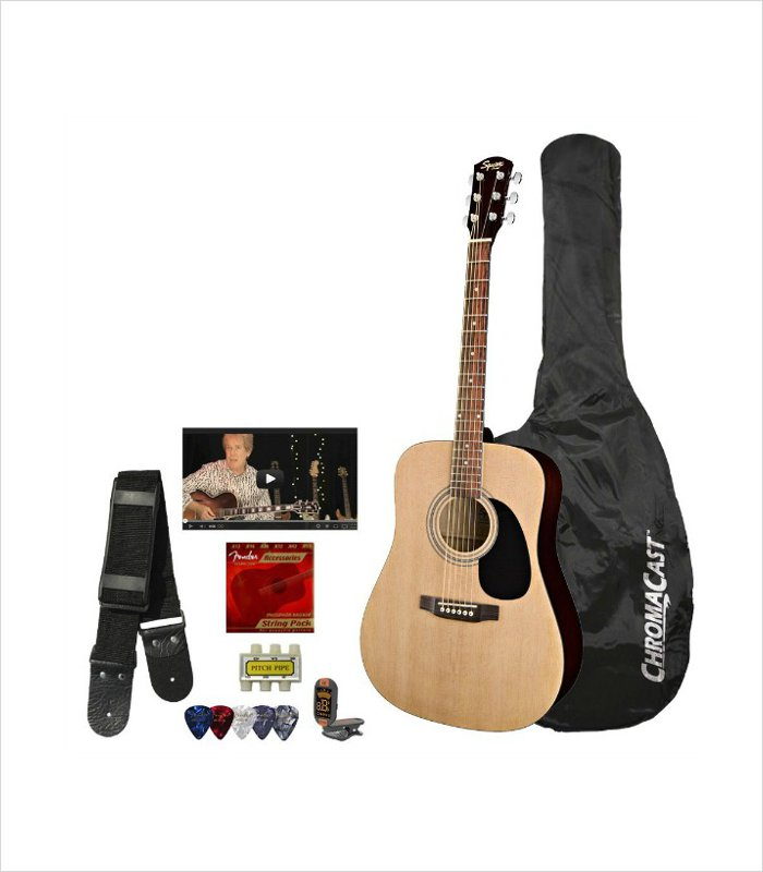 A musical Christmas present idea for 11 year old boys - squier by fender acoustic guitar bundle starter kit