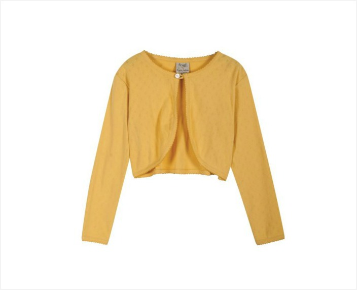 A bright yellow girls cardie to add a little sunshine to the day. Swing by to check out the other SS15 springtime garms for girls | kidslovethisstuff.com