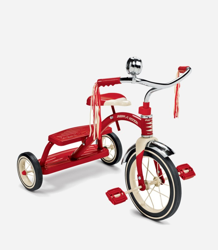 Gift ideas for toddlers: The old school chrome bell, the rubber wheels and handle bar streamers. What's not to love about this red tricycle | kidslovethisstuff.com