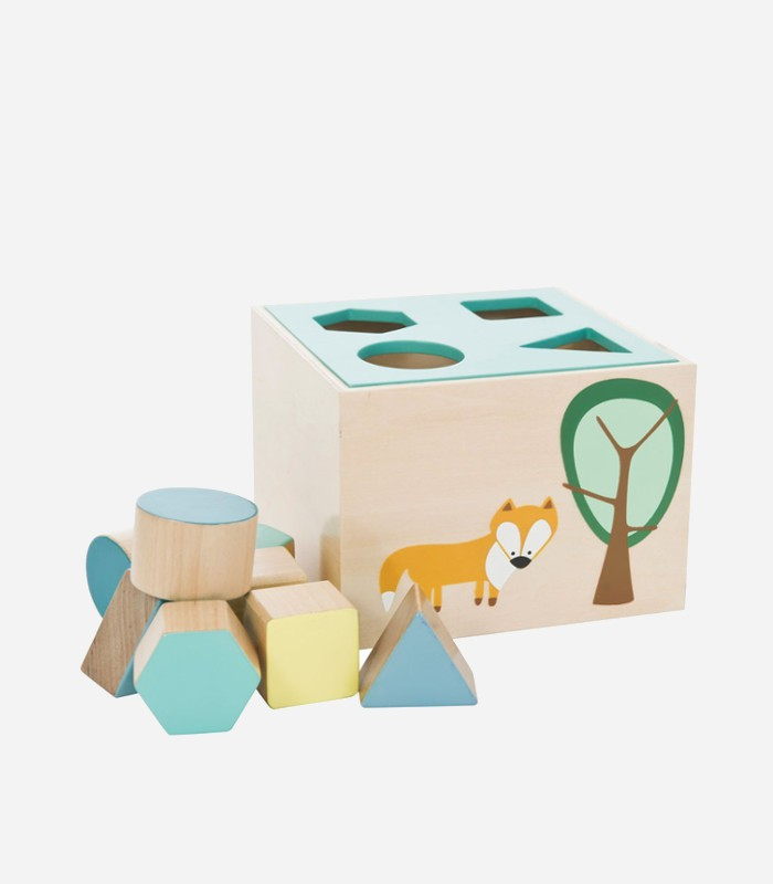 A wooden shape sorter with pretty pastel colors and a sweet, little foxy design | kidslovethisstuff.com