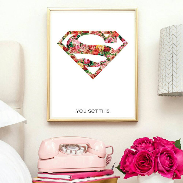 Digitally produced superhero wall print for girls - 'You got this' | kidslovethisstuff.com