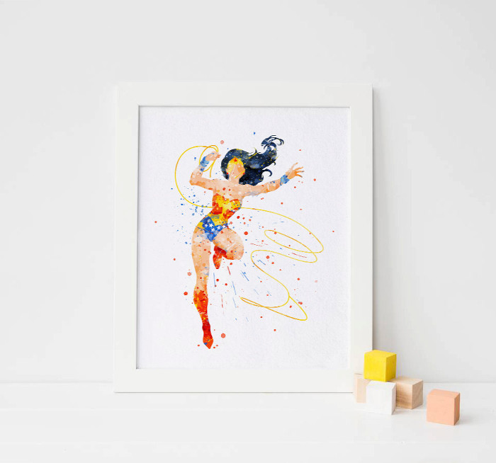Wonder woman wall print in stunning watercolor - inspirational wall art for girls rooms | kidslovethisstuff.com