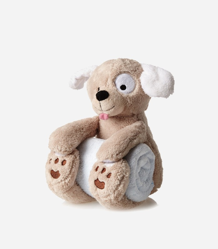 Baby gift inspiration: Puppy Blankie - a super soft and huggable bedtime gift set for babies.