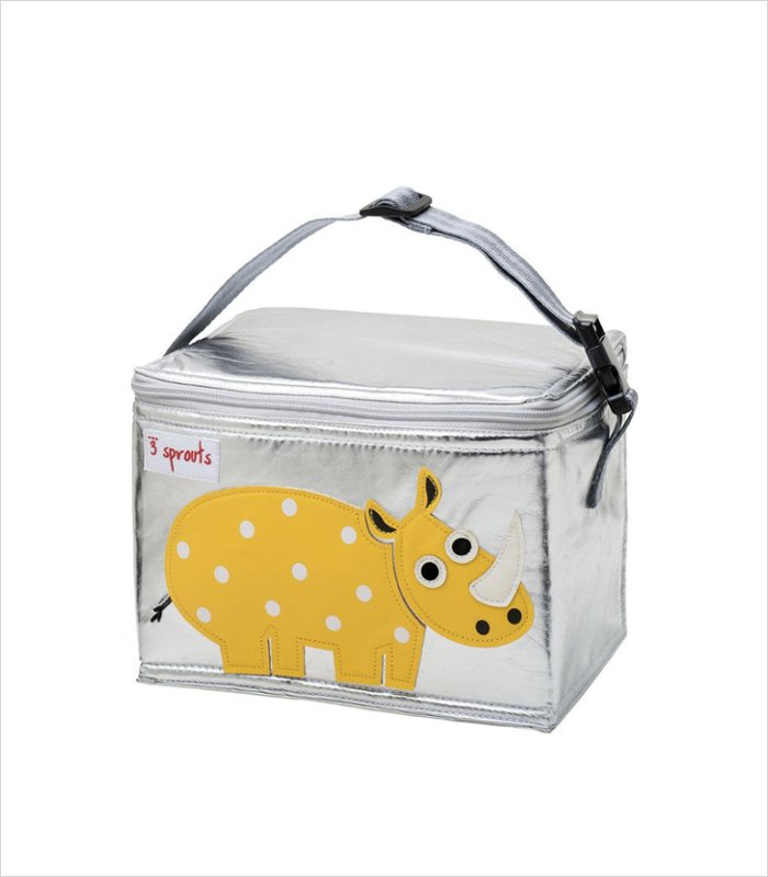 Children's lunch bag featuring a friendly rhino by 3 Sprouts