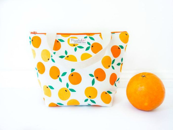 Handmade organic cotton childrens lunch bags by Piggledee