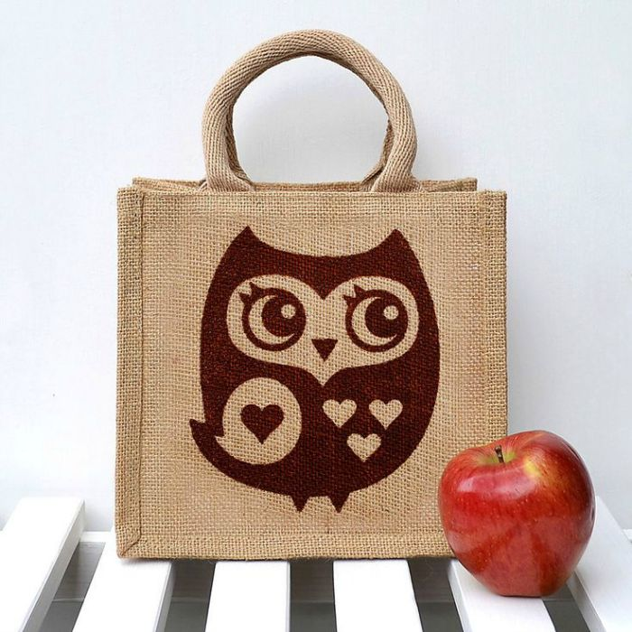 Screen printed jute lunch bag by Snowdon