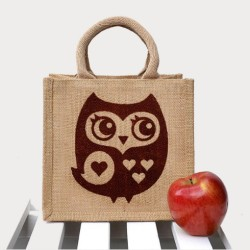 childrens lunch bags - owl screen printed jute lunch bag FP