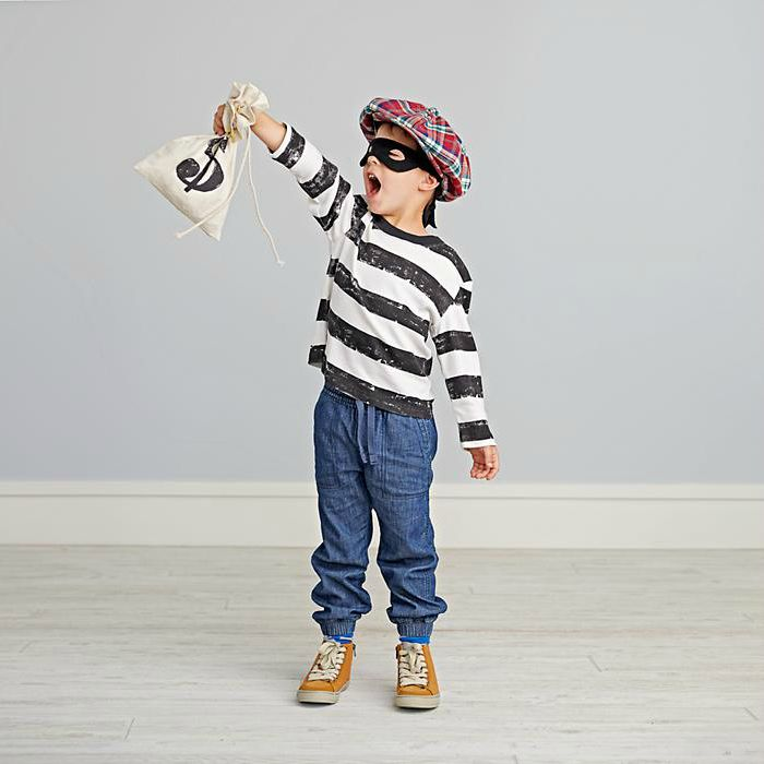 Dress up ideas for kids: This adorable bandit costume comes with mask, stripey shirt, cap and loot bag.