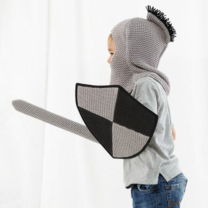 Dress up ideas for kids: Turn your little one into a knight in knitted armor. Comes with shield, helmet and trusty sword.