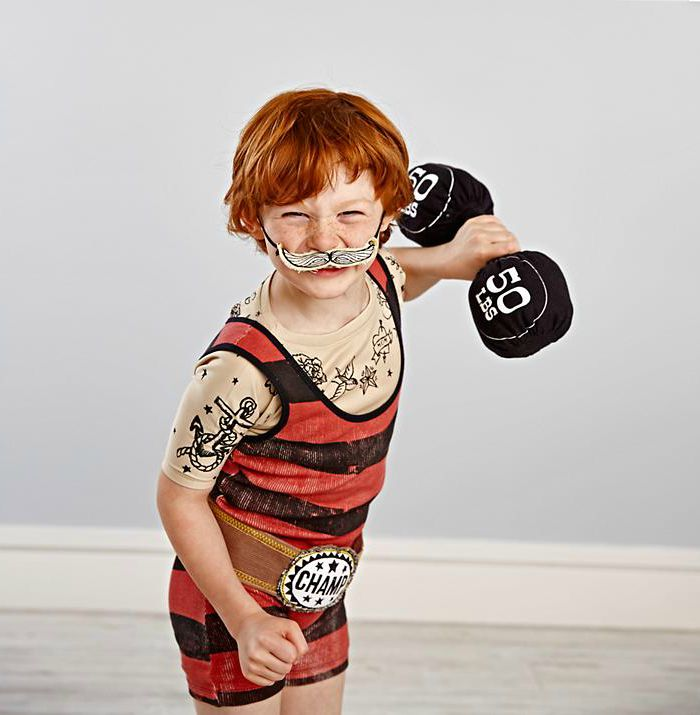 Dress up ideas for kids: Turn your little one into an old time weightlifting champ.