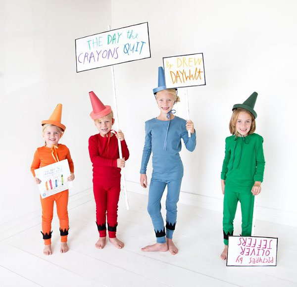 Non scary kids Halloween costumes to DIY - The crayons that quit costumes