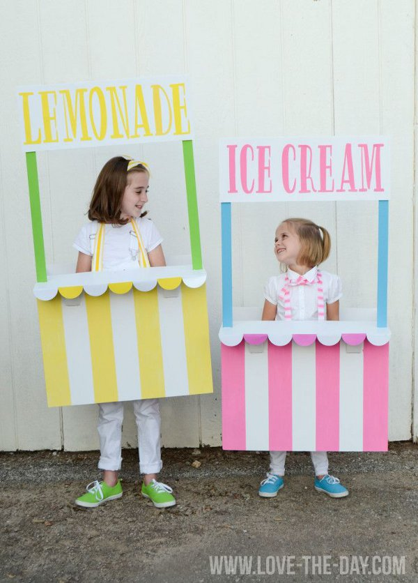 Non scary kids Halloween costumes to DIY - The lemonade and ice-cream stand costumes