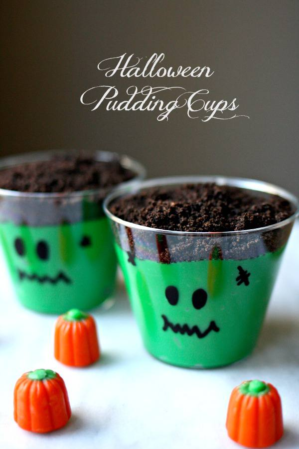 Eerie halloween desserts for kids - halloween pudding cups