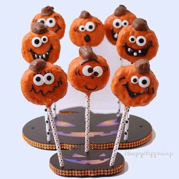 Creepy halloween desserts for kids - pumpkin pops