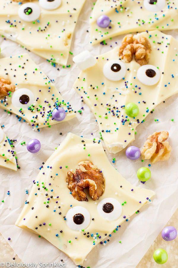 Creepy halloween desserts for kids - monster brain halloween bark