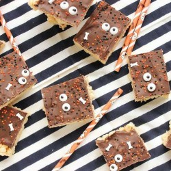 creepy  halloween desserts for kids - sticky sweet rice krispie treats FP