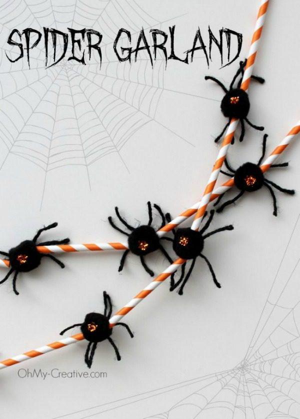 spider Halloween crafts - spider garland