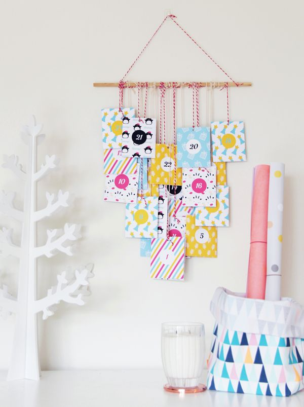 How many sleeps left until Christmas? 11 stylish DIY advent calendars to help you start the countdown the Christmas. Colorful advent calendar via A Subtle Revelry.